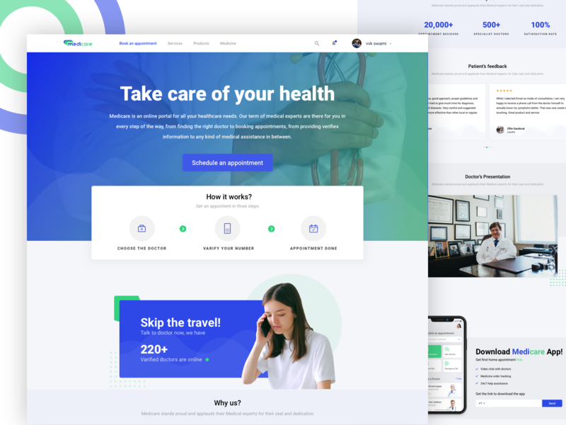 Doctor appointment healthcare doctor app illustrator website design typography logo icon web flat ux ui
