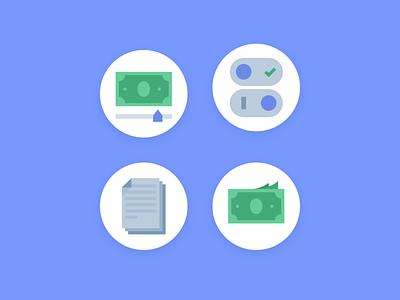 Icons for bxblue bx steps journey blue files docs documents cash slider toggle money bxblue ui flat icons