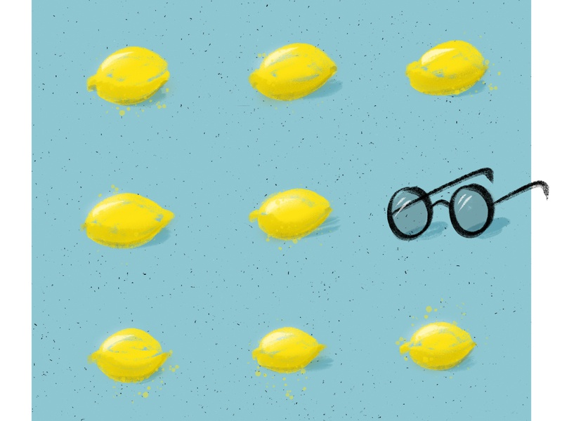 John Lemon digital drawing imagine food music pun puns lemon thebeatles beatles john lennon glasses texture blue yellow procreate design illustration