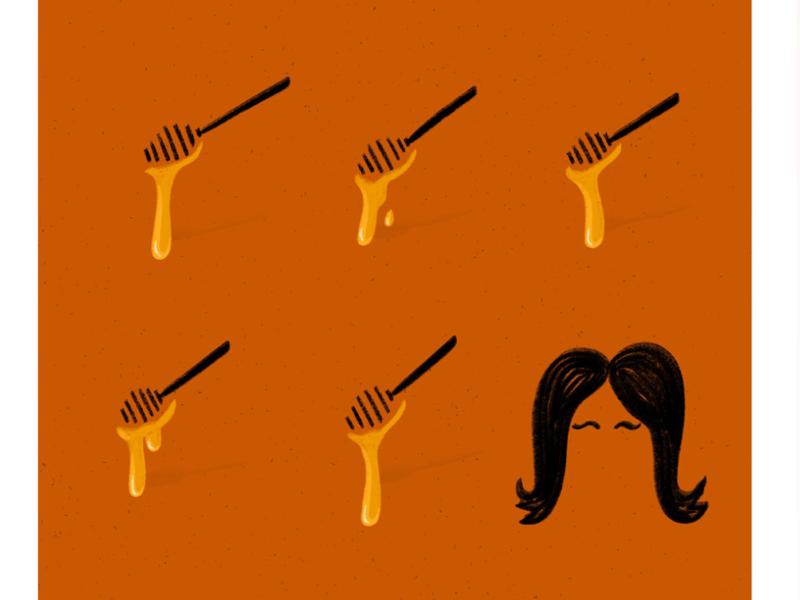 Honey & Cher retro poster orange 1965 igotyoubabe musician rocknroll singer torontoartist foodillustration 60s 70s illustration sonnybono cher honey puns sonnyandcher procreateapp