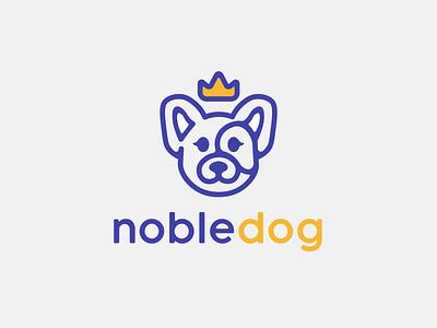 Logo Challenge - NobleDog blue and yellow doggy dog illustration simple logo blue simple flat logo crown logo noble animal logo pup dog dog logo