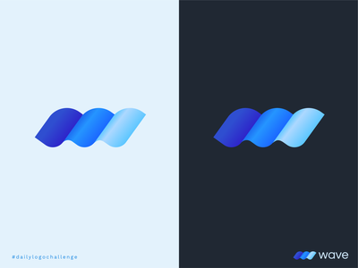 Daily Logo Challenge - Single Letter Logo waves gradient blue wave logo blue logo wave daily logo design daily dailylogodesign daily challange dailylogochallenge dlc