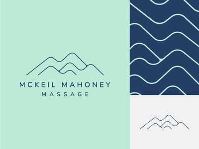 McKeil Mahoney Massage therapy calm branding blue green massage massage therapy massage logo mountain mountain logo mountains blues clean design