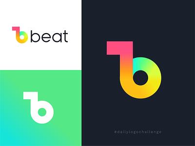 Daily Logo Challenge - Beat Music Logo clean design clean beat logo beat green yellow pink blue and white blue music note music brand music b logo music logo