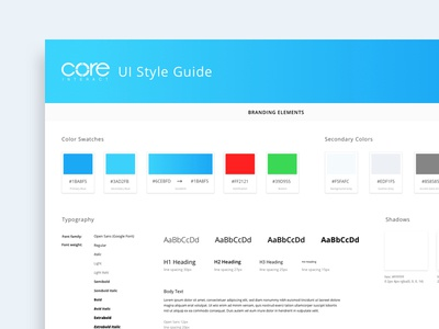 Daily UI #10 - Core Interact Style Guide
