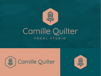 Camille Quilter Vocal Studio simple geometric voice logo red blue teal pink vocal music mic mic logo