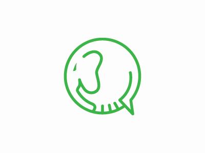 Elephant Logo communication talk chat simple fun logo line icon app elephant
