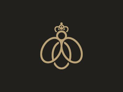 Queen Bee Logo bee style logo simple royal rich princes monoline luxury