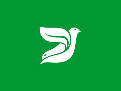 Twin Bird Logo swallow pigeon logo leaf identity green flying fly eco dove birds bird