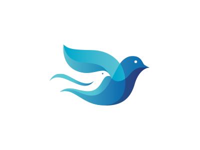 Family Bird Logo pigeon peace overlap flames family dove community color charity blue bird