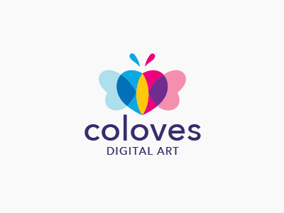 Butterfly Color Logo multicolor overlay overlap heart love butterfly logo colorful color