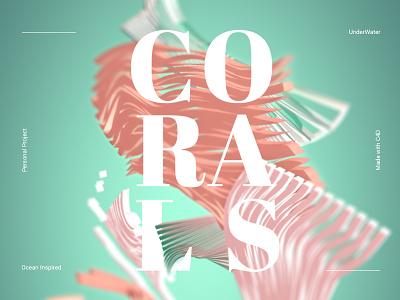 Corals under the sea typography c4d 3d ocean water corals