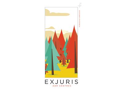 EXJURIS, The Forest illustraion logo branding design branding design