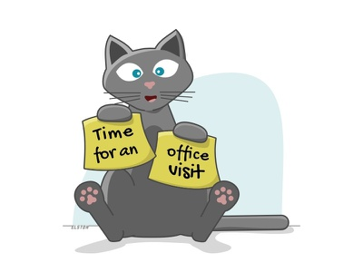 Time For An Office Visit tests veterinarian illustration cat