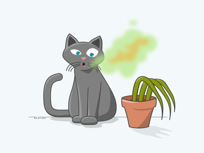 Stank Kitty Breath veterinarian plant illustration cat
