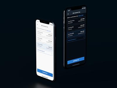 Bitcoin Fee editor blender mobile ui mobile dark ui iphone dark mode wallet 3d ios muun bitcoin wallet bitcoin