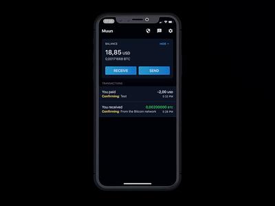 Send Bitcoins with Muun dark ui darkmode blender motion send muun crypto 3d wallet bitcoin wallet dark ui animation bitcoin