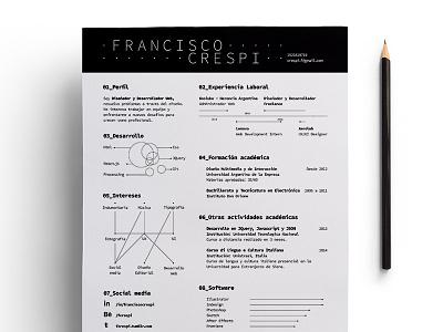 Printed Resume white vitae resume pdf cv curriculum black and