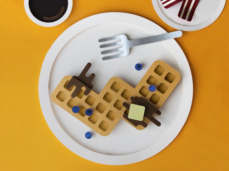 Waffles Papercraft handmade type 3d orange breakfast bacon coffee fork waffles 36 days of type typography art paper papercraft