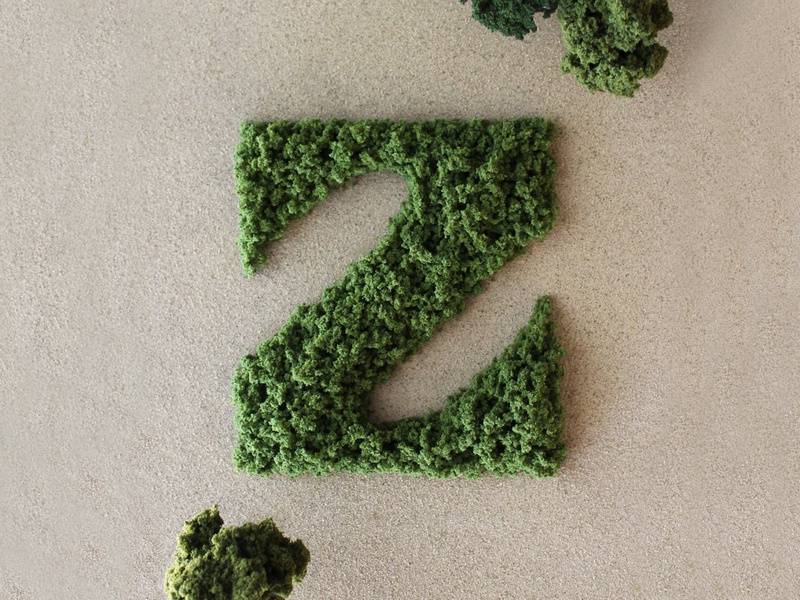 Z is for Zen — 36 Days of Type tactile physical nature moss handlettering zen leaf trees sand craft garden green handmade type 36 days of type typography