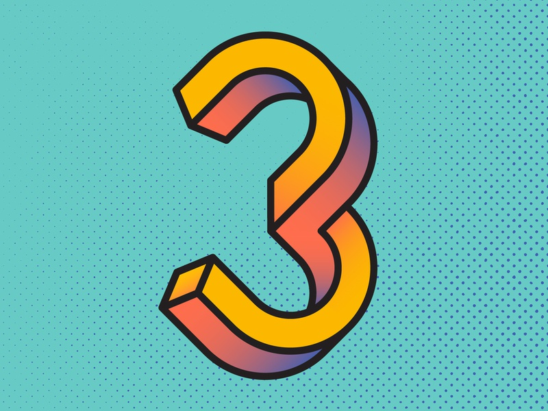 3 is for 3D pop art twist impossible isometric flat twisted mc escher halftone gradient outline number three 3 handlettering lettering 36 days of type type typography vector 3d