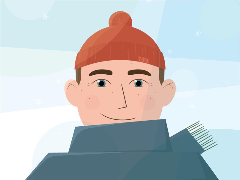 Self-Portrait, Vector Illustration illustration card adobe illustrator face self-portrait blue overlay christmas scarf snow cold hat beanie boy man winter vector self portrait