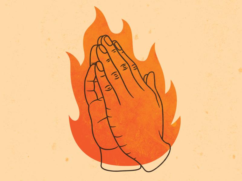 Prayer Hands WIP power spirit church misson christian prayers orange adobe illustrator vector wip line hands flame texture illustration fire prayer