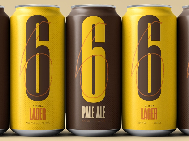 SIX Pack palette design number 6 mockup 36 days of type 36daysoftype branding and identity branding type beer can warm brown yellow beer packaging typography