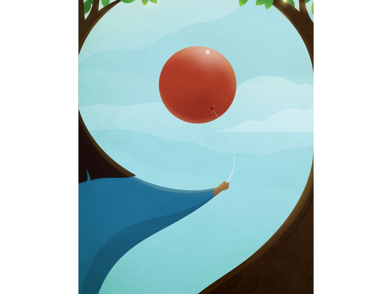Cloud 9 — 36 Days of Type gradient scene perspective 36 days of type sky clouds girl texture sunshine leaves tree balloon number nine 9 type adobe illustrator vector illustration typography