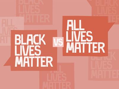 """The Problem with All Lives Matter"" Thumbnail antiracism cutout box conversation talk racism speechbubble speech handlettering paper monochromatic monochrome papercut adobe illustrator vector typography type lives black black lives matter"
