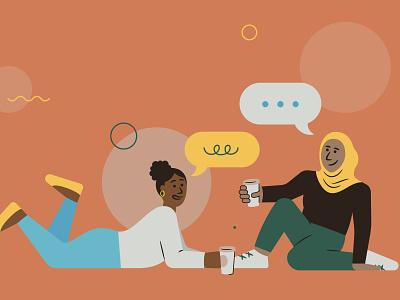 Friends WIP wip coffee friends portrait black hijabi hijab body diversity brown color women vector illustration
