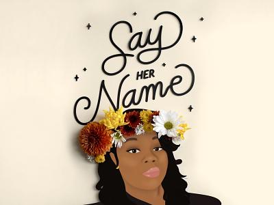 Say her name blacklivesmatter physical papercraft paper race equality women black crown flower 2020 police justice blm black lives matter illustration vector handlettering typography breonnataylor