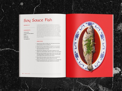 Soy Sauce Fish Recipe mockup marble recipe spread indesign editorial food restaurant asian chinese fish layout cookbook book