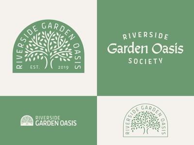 Garden Society Branding elegant logotype logo nonprofit outdoors nature club oasis organic natural leaf cream green blackletter calligraphy badge branding society tree garden