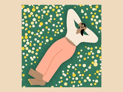 At Peace adobe illustrator spring grass beautiful texture vector illustration cute scalloped brown color woman yellow flowers field sleep relaxing relax rest peace