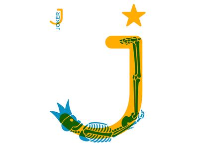 J  – 36 Days of Type card game game design 2 color overlay star crown king skeleton skull adobe illustrator card design card joker 36 days of type typography type lettering illustration