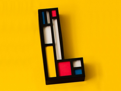 L — 36 Days of Type shadows l yellow primary colors paper mondrianism mondrian 36 days of type typography type lettering papercraft