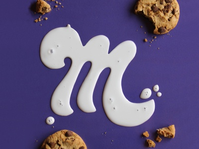 M — 36 Days of Type bubbles m purple physical tactile typography spill milk cookies 36 days of type typography type lettering