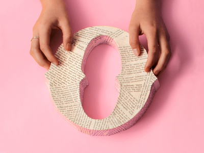 O — 36 Days of Type pages o book hands pink paper mache tactile typography physical therapy books 36 days of type papercraft typography type lettering