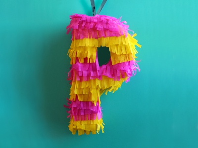 P — Piñata p party mexico craft tactile typography physical type paper pinata 36 days of type papercraft typography type lettering