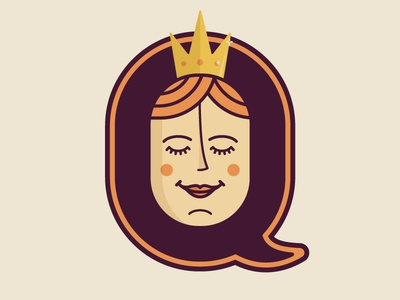 Q — 36 Days of Type royalty serenity peace woman adobe illustrator qween queen of hearts crown queen 36 days of type typography type lettering illustration
