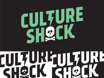 Early branding for Culture Shock adobe illustrator lightning game design green shock culture skull vector illustration type typography design logo branding