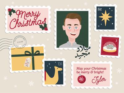Christmas Stamp Collection snowflakes present camel postcard holiday card holidays christmas card texture adobe illustrator arabic portrait selfportrait stamps christmas design illustration vector
