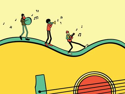 Traveling Show gig guitar diversity instruments walking travel poster band music vector illustration