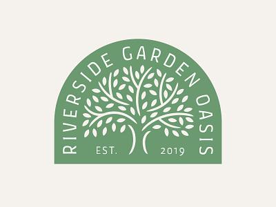 Garden Society Logo flat natural organic cream leaves leaf badge icon vector illustration society probono nonprofit green tree garden logo branding