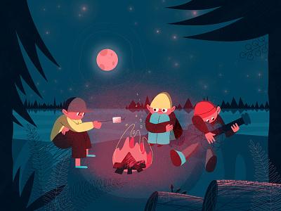 Summer Camp bonfire camping summer motion motion design character design illustration