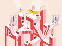 City of Stairs - Isometric Illustration