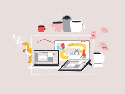 Workplace coffee plant macbookpro wacom cartoon animation motion design motion graphics digital design illustration