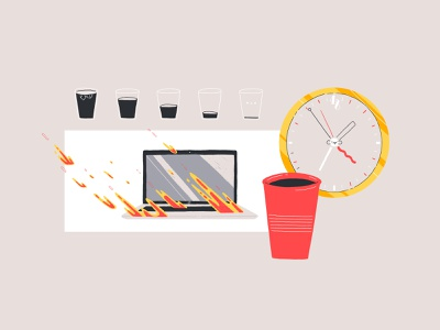 Overload coffee workplace laptop work icon design icon animation art digital design illustration