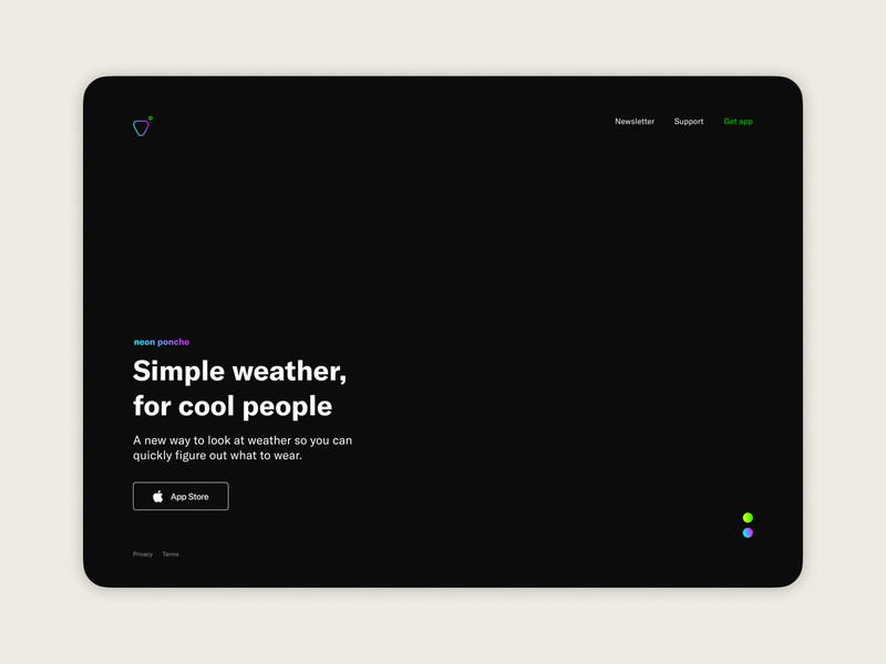 Weather app — Landing page concept (1 of 3) visual design product design weather app app landing page
